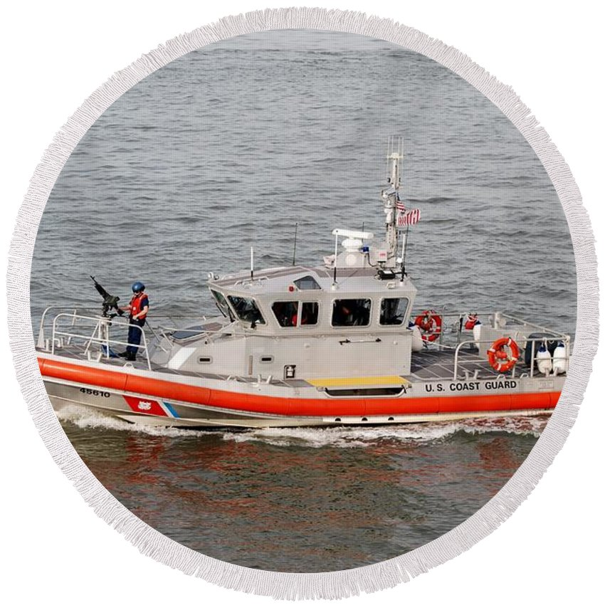 Harbor Round Beach Towel featuring the photograph Coast Guard On Patrol by Rob Hans