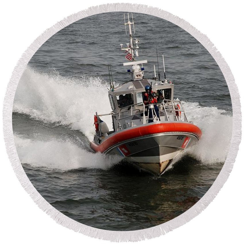 Harbor Round Beach Towel featuring the photograph Coast Guard by Rob Hans