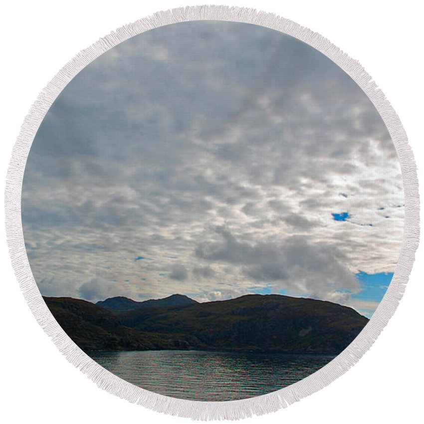 Coast Round Beach Towel featuring the photograph Coast N Clouds 1 by Nancy L Marshall