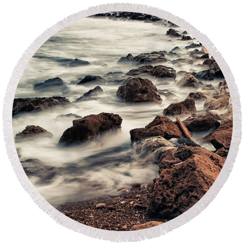 Atlantic Round Beach Towel featuring the photograph Coast by Stelios Kleanthous