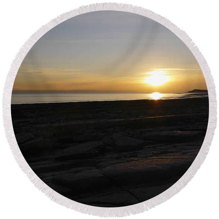 Lavernock Point Round Beach Towel featuring the photograph Coast Sunset by Kevin Round