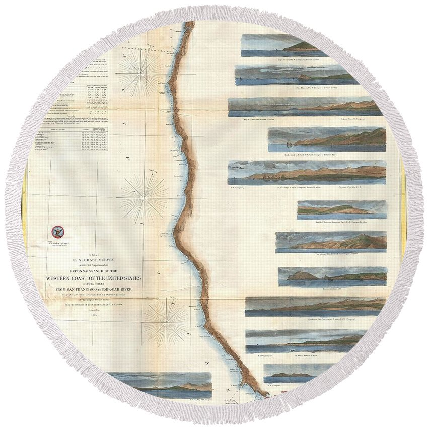 Round Beach Towel featuring the photograph Coast Survey Chart Or Map Of California And Oregan North Of San Francisco by Paul Fearn