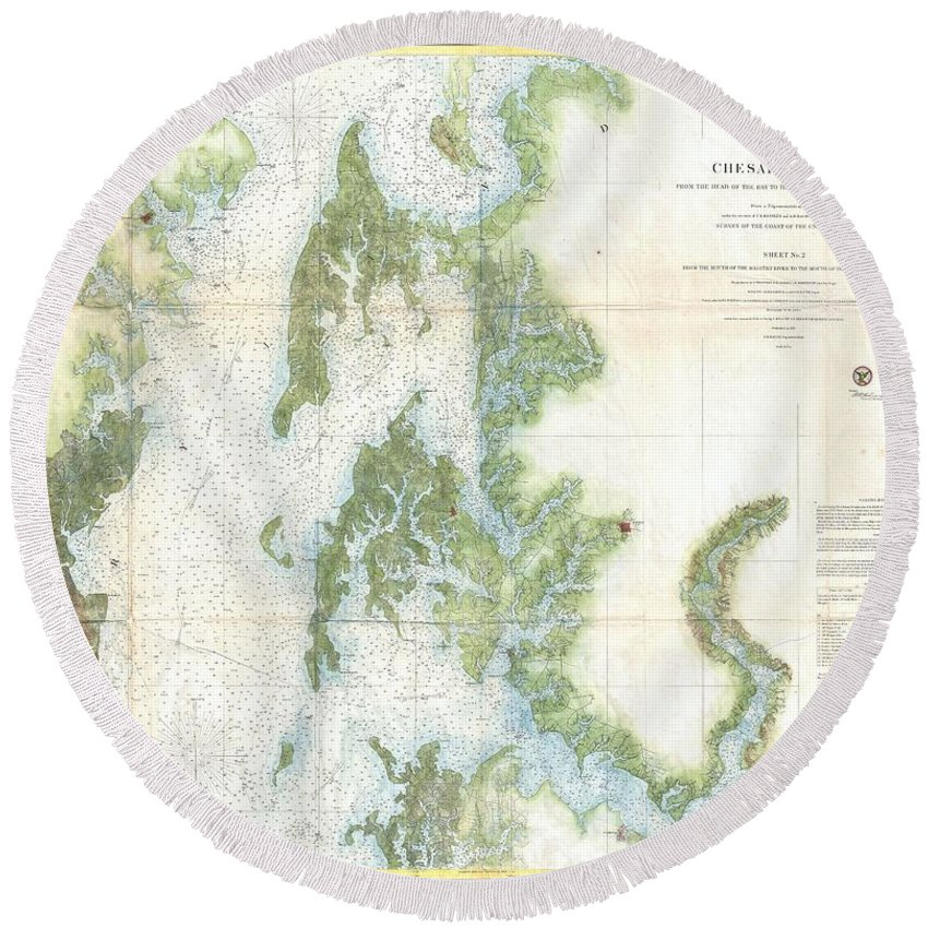 Round Beach Towel featuring the photograph Coast Survey Chart Or Map Of The Chesapeake Bay by Paul Fearn