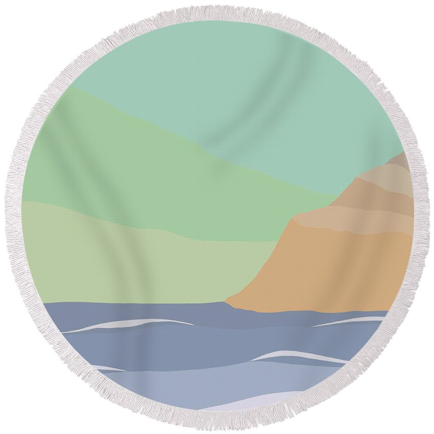 Coast Round Beach Towel featuring the painting Coastal Bank by Henry Manning