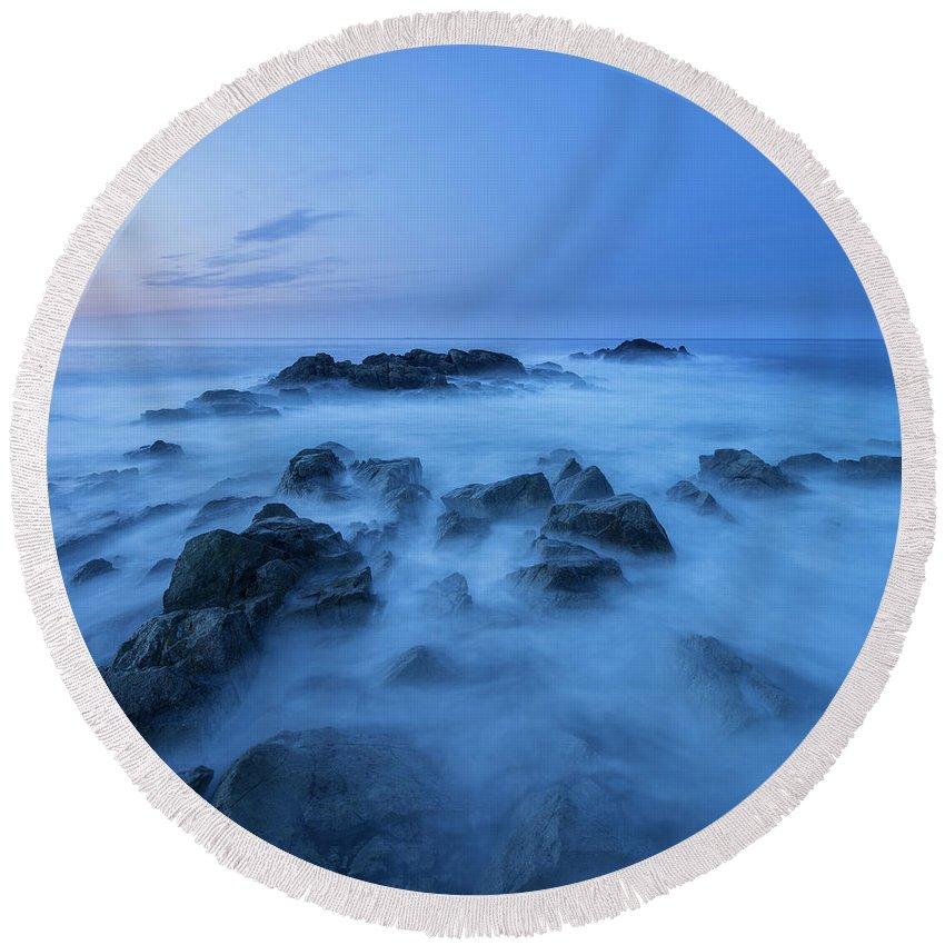 Trollskjeran Round Beach Towel featuring the photograph Coastal Landscape At Trollskjeran by Cody Duncan