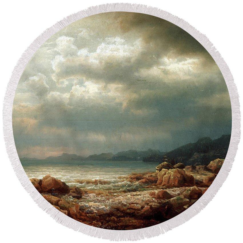 Lars Hertervig Round Beach Towel featuring the painting Coastal Landscape by Lars Hertervig