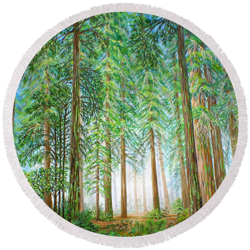 Trees Round Beach Towel featuring the painting Coastal Redwoods by Jane Girardot