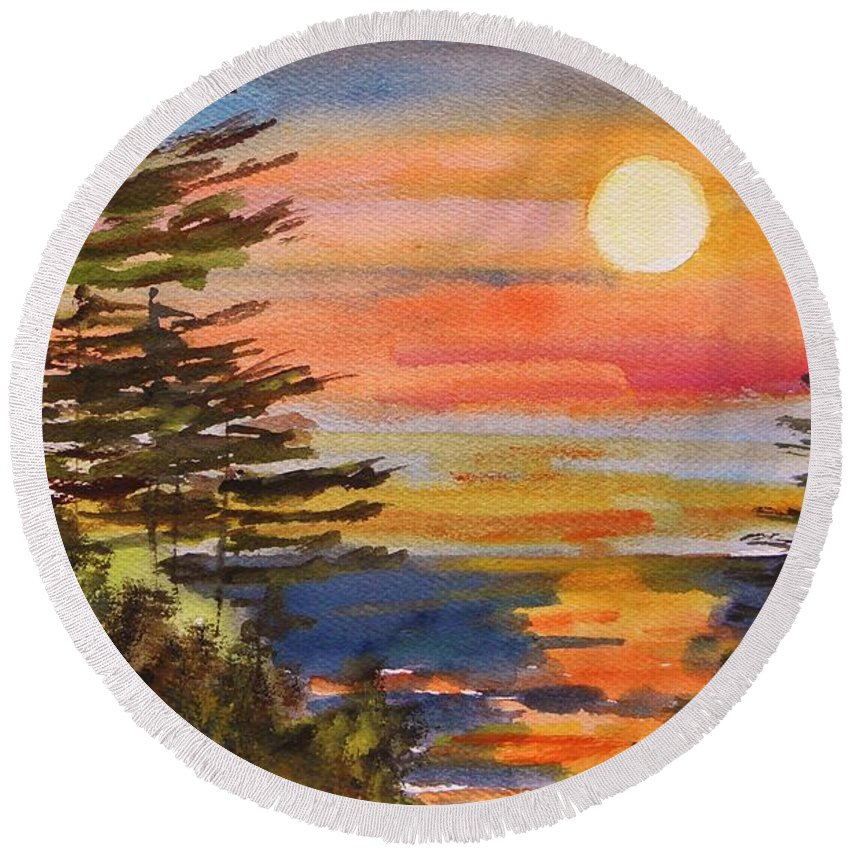 Sunset Round Beach Towel featuring the painting Coastal Sunset by John Williams