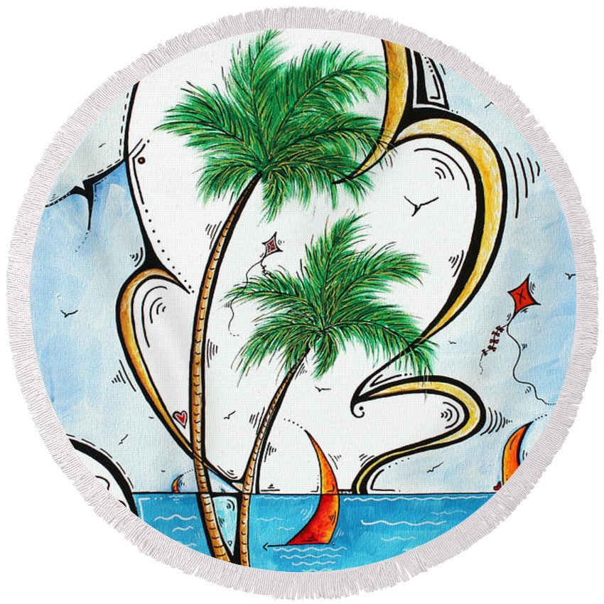 Coastal Round Beach Towel featuring the painting Coastal Tropical Art Contemporary Sailboat Kite Painting Whimsical Design Summer Daze By Madart by Megan Duncanson