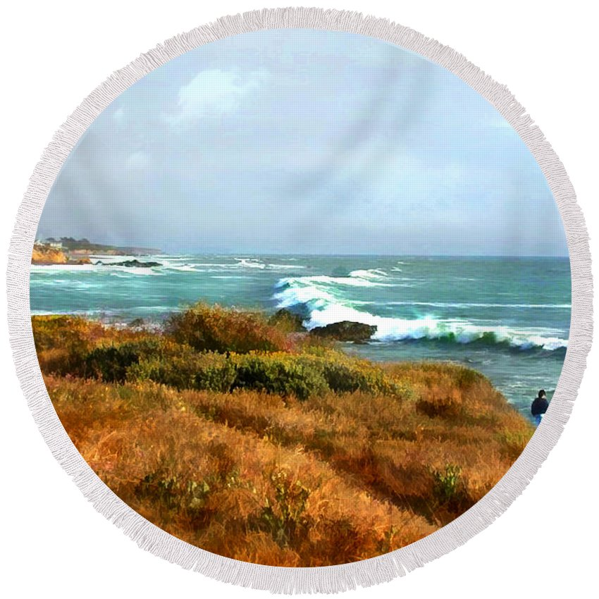 Landscape Round Beach Towel featuring the painting Coastal Waves Roll In To Shore by Elaine Plesser