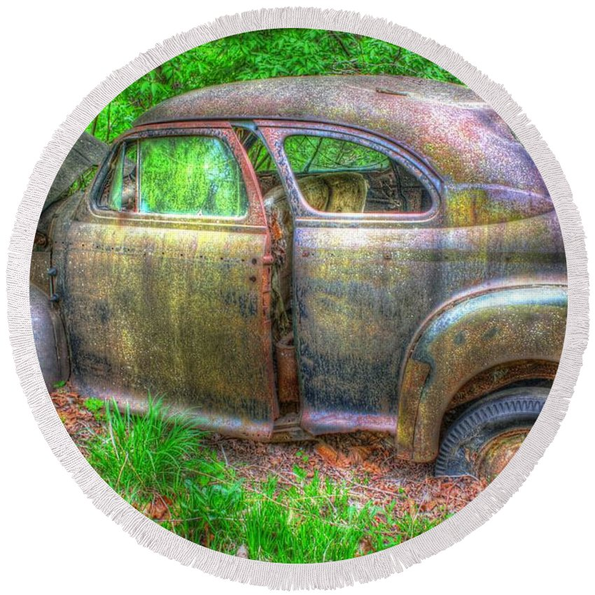 Antique Round Beach Towel featuring the photograph Coat Of Different Colors- Auto Personalities #3 by Dan Stone