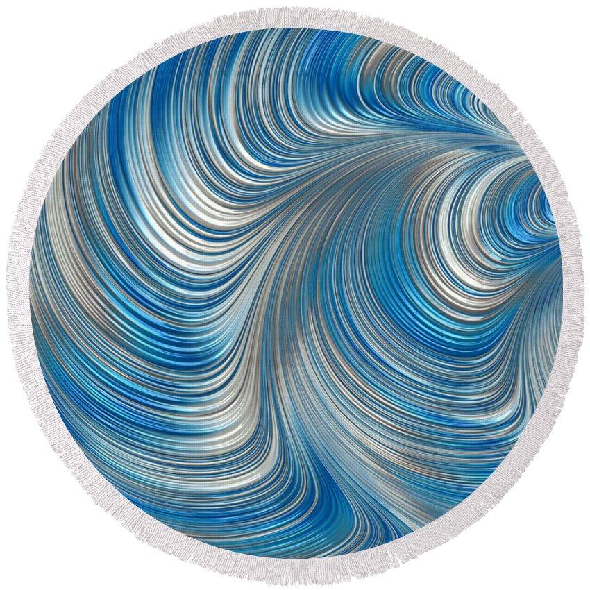 Cobolt Abstract Round Beach Towel featuring the digital art Cobolt Flow by John Edwards