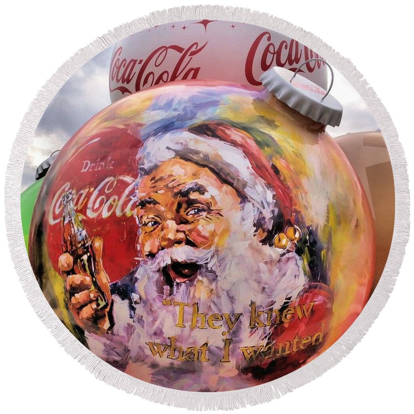 Christmas Ornaments Round Beach Towel featuring the photograph Coca Cola Christmas Bulbs by Dan Sproul