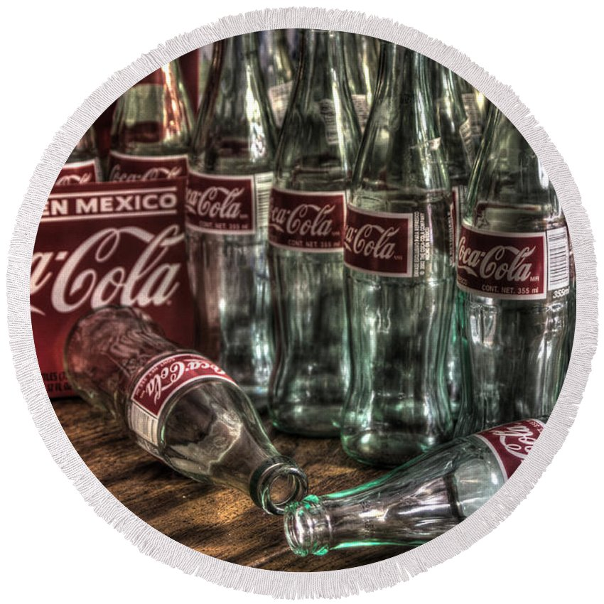 Coke Round Beach Towel featuring the photograph Coca Cola - Hecho En Mexico by J M Lister