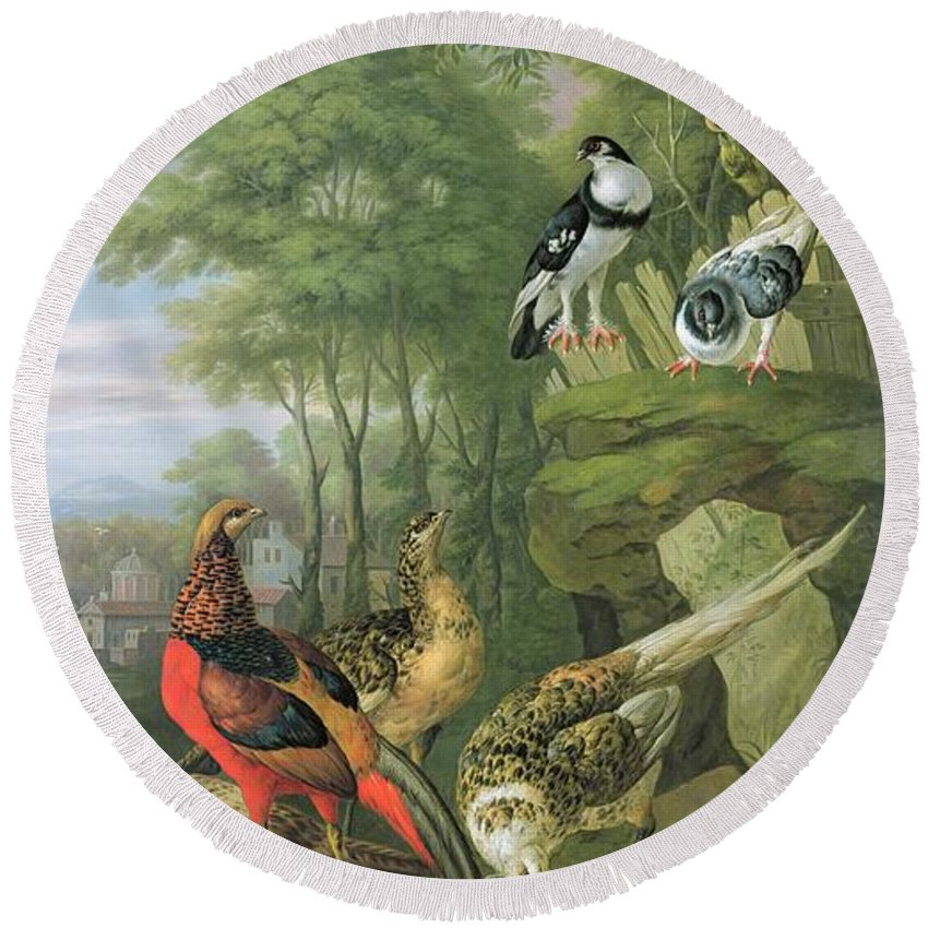 Ornithology Round Beach Towel featuring the painting Cock Pheasant Hen Pheasant And Chicks And Other Birds In A Classical Landscape by Pieter Casteels
