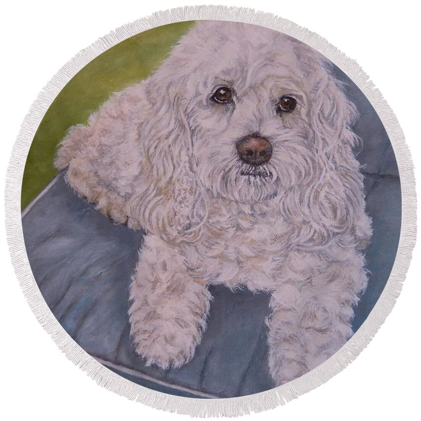 Custom Dog Portrait Round Beach Towel featuring the painting Cockapoo by Graciela Castro