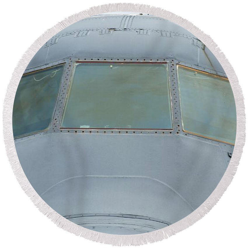Airplane Round Beach Towel featuring the photograph Cockpit by Rob Luzier