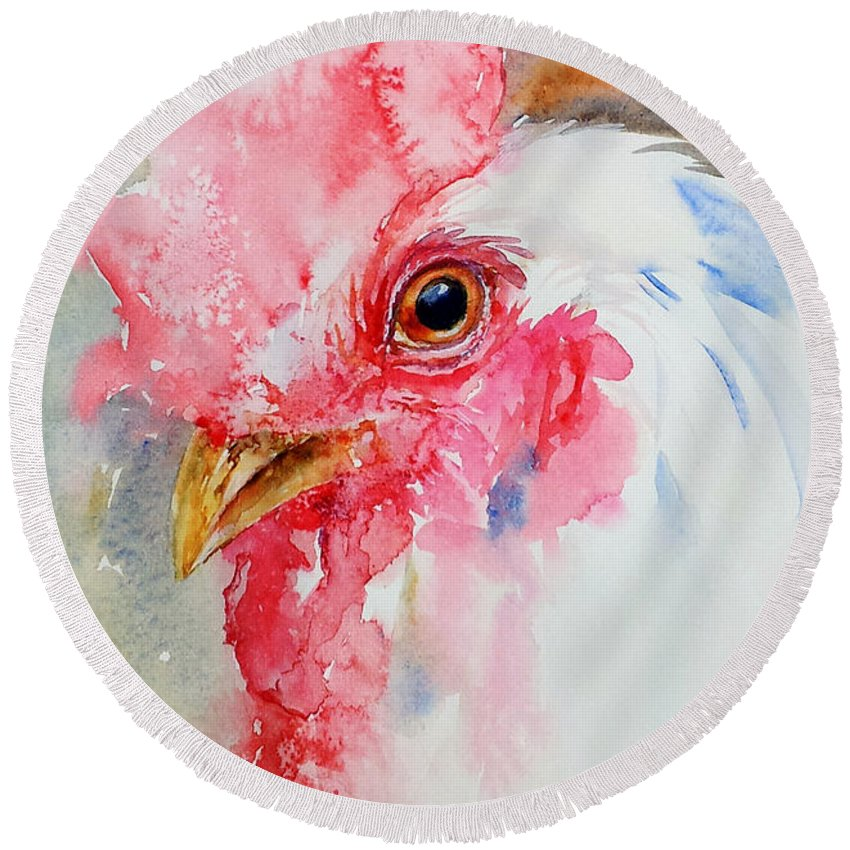 Watercolor Round Beach Towel featuring the painting Cocky by Arti Chauhan