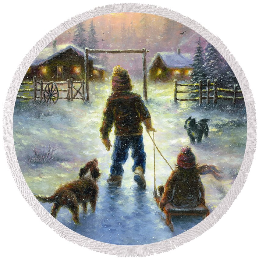 Snow Round Beach Towel featuring the painting Cocoa Time by Vickie Wade