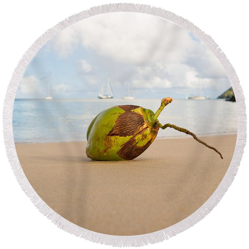Beach Round Beach Towel featuring the photograph Coconut by Ferry Zievinger