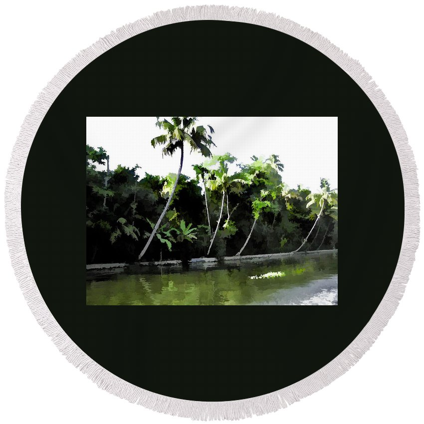 Alleppey Round Beach Towel featuring the digital art Coconut Trees And Others Plants In A Creek by Ashish Agarwal