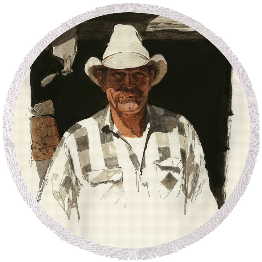 Don Langeneckert Round Beach Towel featuring the painting Cody Cowboy 2 by Don Langeneckert