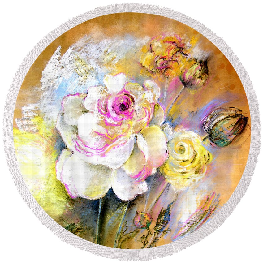 Still Life Round Beach Towel featuring the painting Coeur De Rose by Miki De Goodaboom