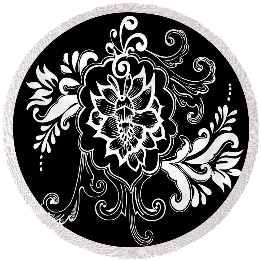 Flowers Round Beach Towel featuring the digital art Coffee Flowers 10 by Angelina Vick