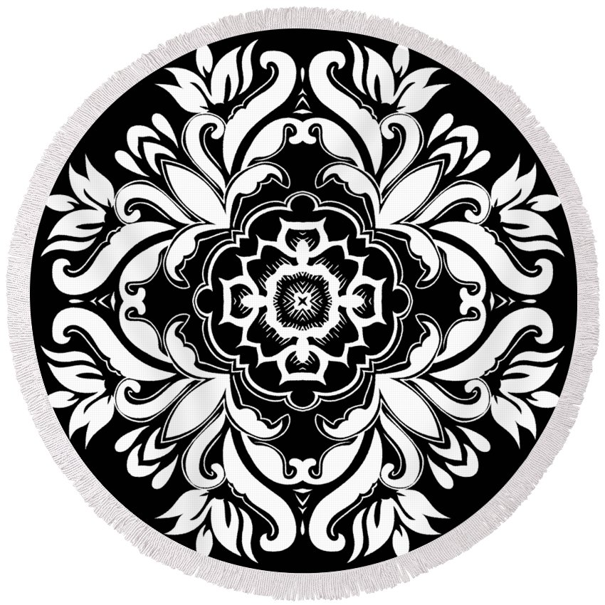 Intricate Round Beach Towel featuring the digital art Coffee Flowers 10 Bw Ornate Medallion by Angelina Vick