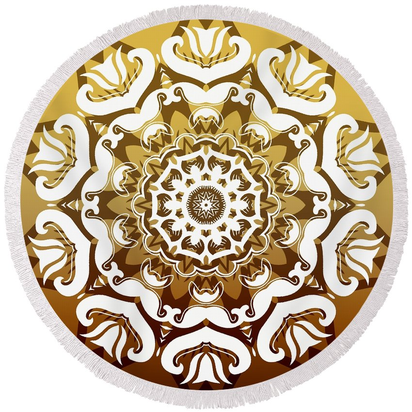 Intricate Round Beach Towel featuring the digital art Coffee Flowers 10 Calypso Ornate Medallion by Angelina Vick