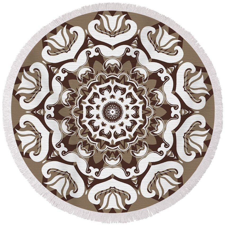 Intricate Round Beach Towel featuring the digital art Coffee Flowers 10 Ornate Medallion by Angelina Vick