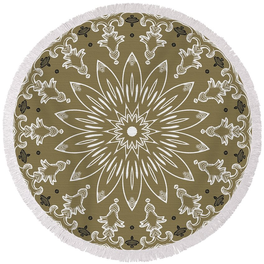Intricate Round Beach Towel featuring the digital art Coffee Flowers 11 Olive Ornate Medallion by Angelina Vick