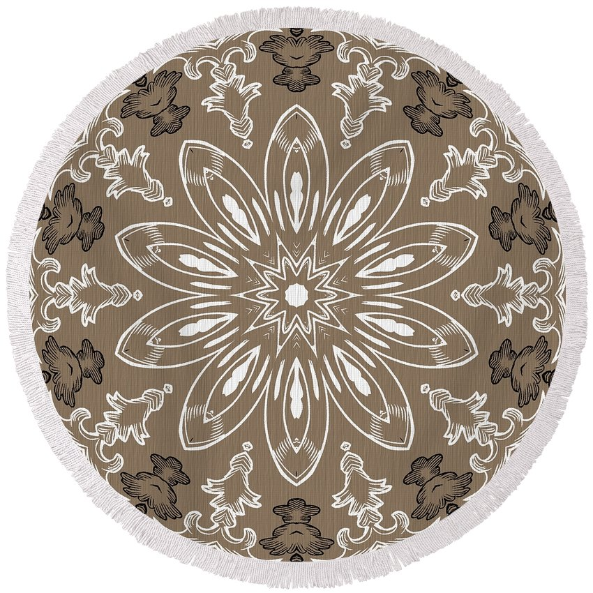 Intricate Round Beach Towel featuring the digital art Coffee Flowers 11 Ornate Medallion by Angelina Vick