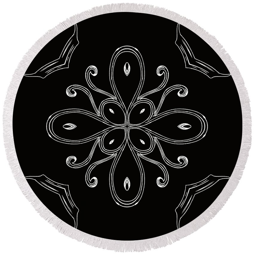 Intricate Round Beach Towel featuring the digital art Coffee Flowers 4 Bw Ornate Medallion by Angelina Vick