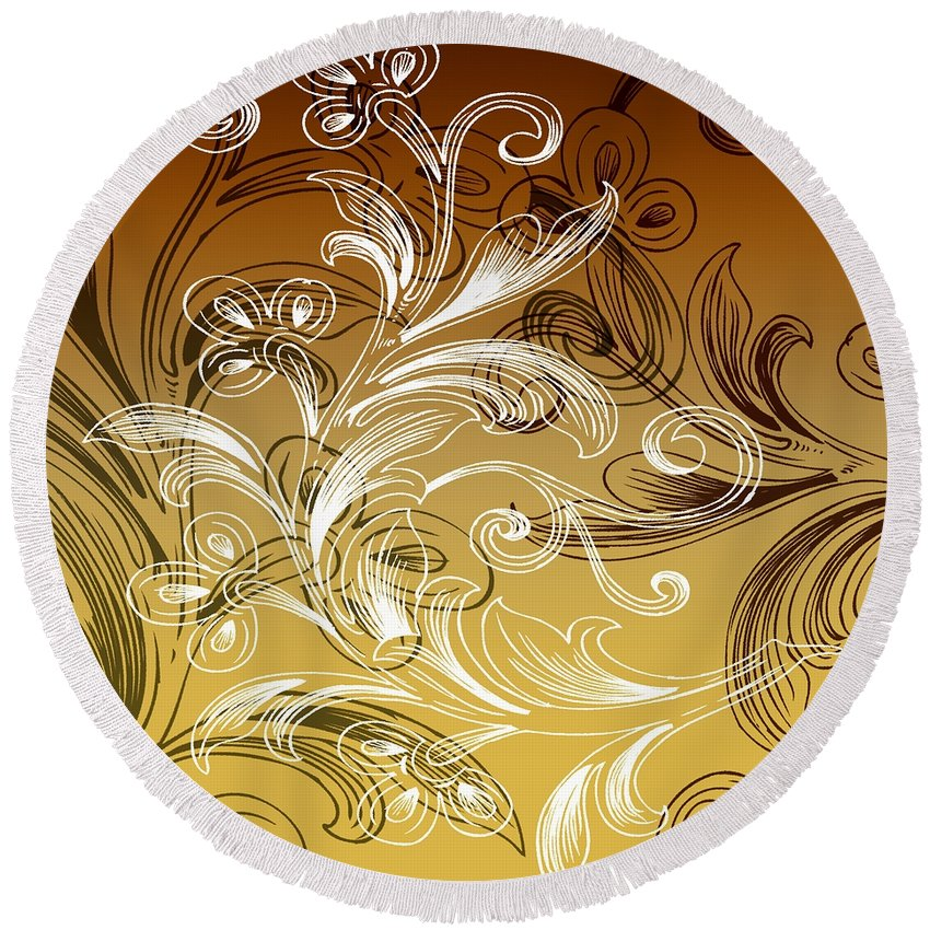 Flowers Round Beach Towel featuring the digital art Coffee Flowers 4 Calypso by Angelina Vick