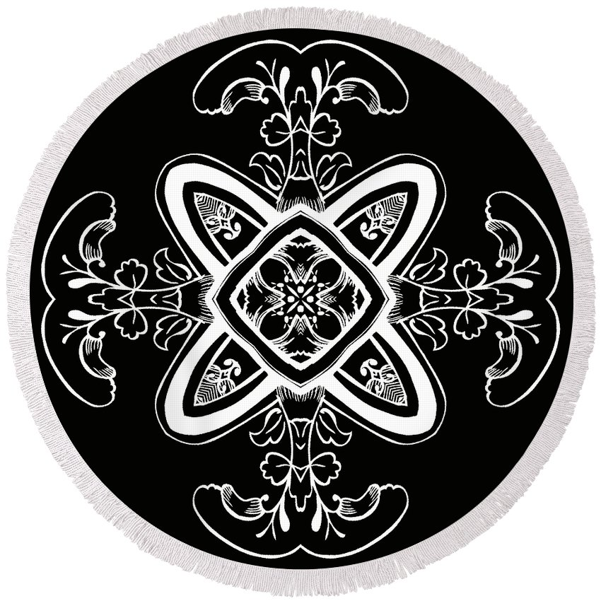 Intricate Round Beach Towel featuring the digital art Coffee Flowers 5 Bw Ornate Medallion by Angelina Vick