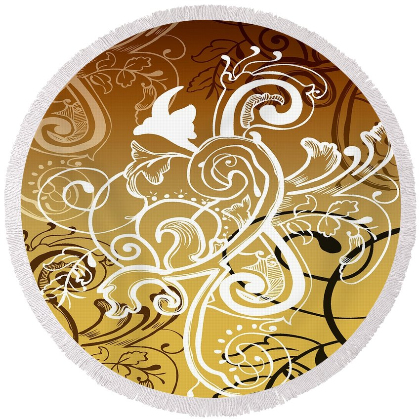 Flowers Round Beach Towel featuring the digital art Coffee Flowers 5 Calypso by Angelina Vick