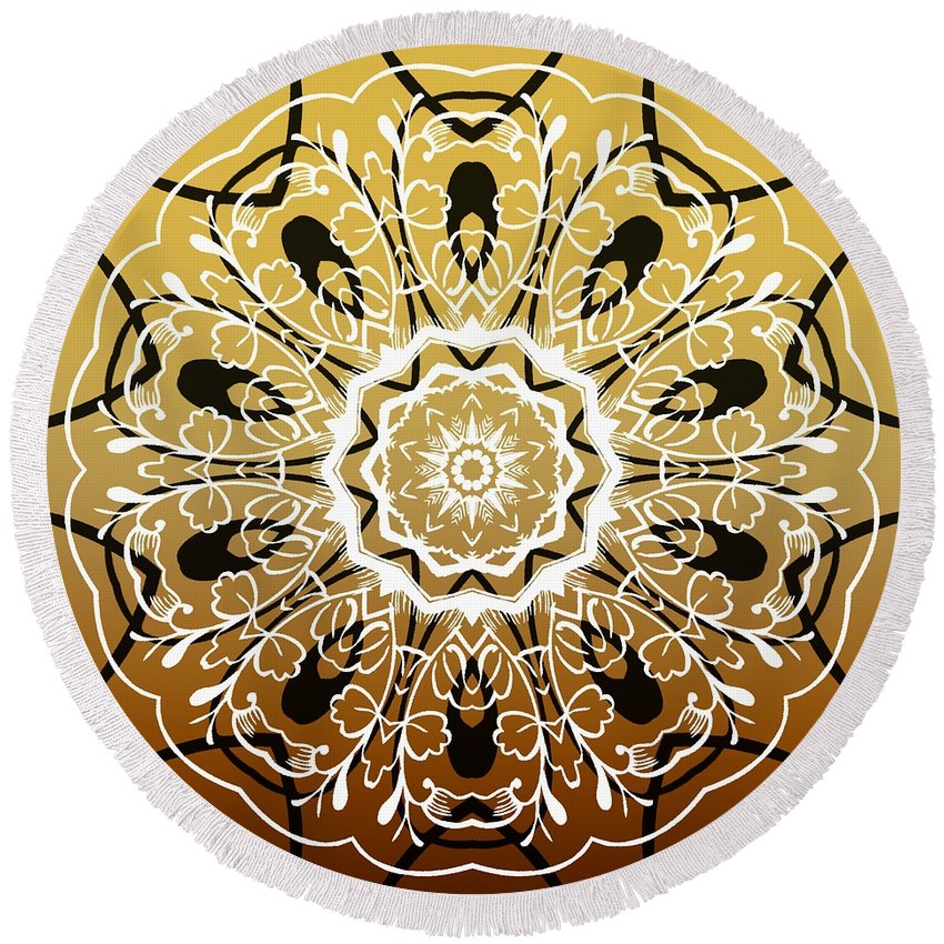 Intricate Round Beach Towel featuring the digital art Coffee Flowers 5 Calypso Ornate Medallion by Angelina Vick