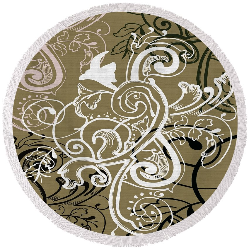 Flowers Round Beach Towel featuring the digital art Coffee Flowers 5 Olive by Angelina Vick