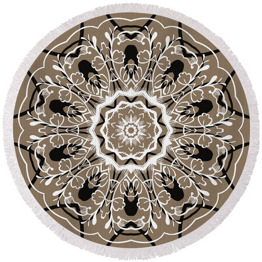 Intricate Round Beach Towel featuring the digital art Coffee Flowers 5 Ornate Medallion by Angelina Vick