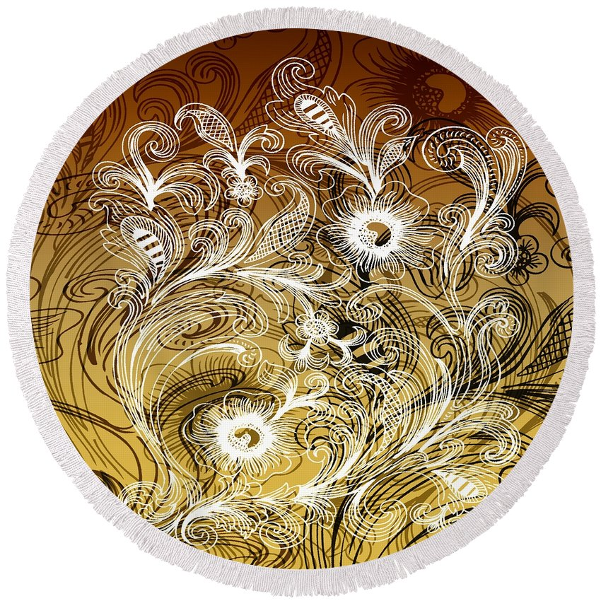 Intricate Round Beach Towel featuring the digital art Coffee Flowers 6 Calypso by Angelina Vick