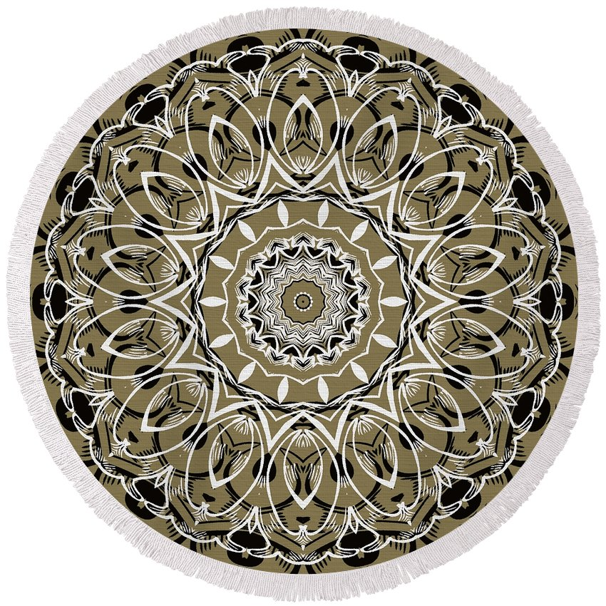 Intricate Round Beach Towel featuring the digital art Coffee Flowers 7 Olive Ornate Medallion by Angelina Vick