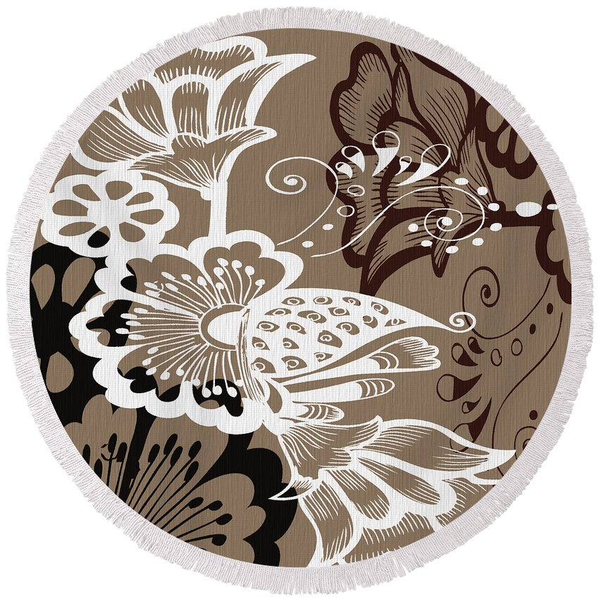 Flowers Round Beach Towel featuring the digital art Coffee Flowers 9 by Angelina Vick