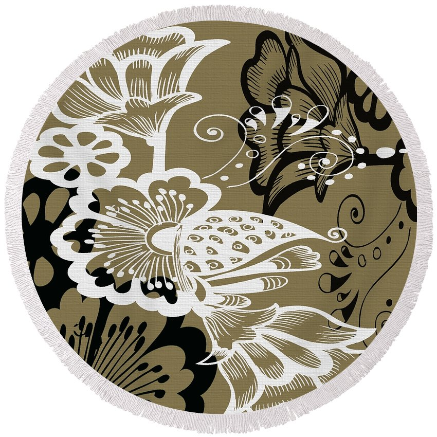 Flowers Round Beach Towel featuring the digital art Coffee Flowers 9 Olive by Angelina Vick