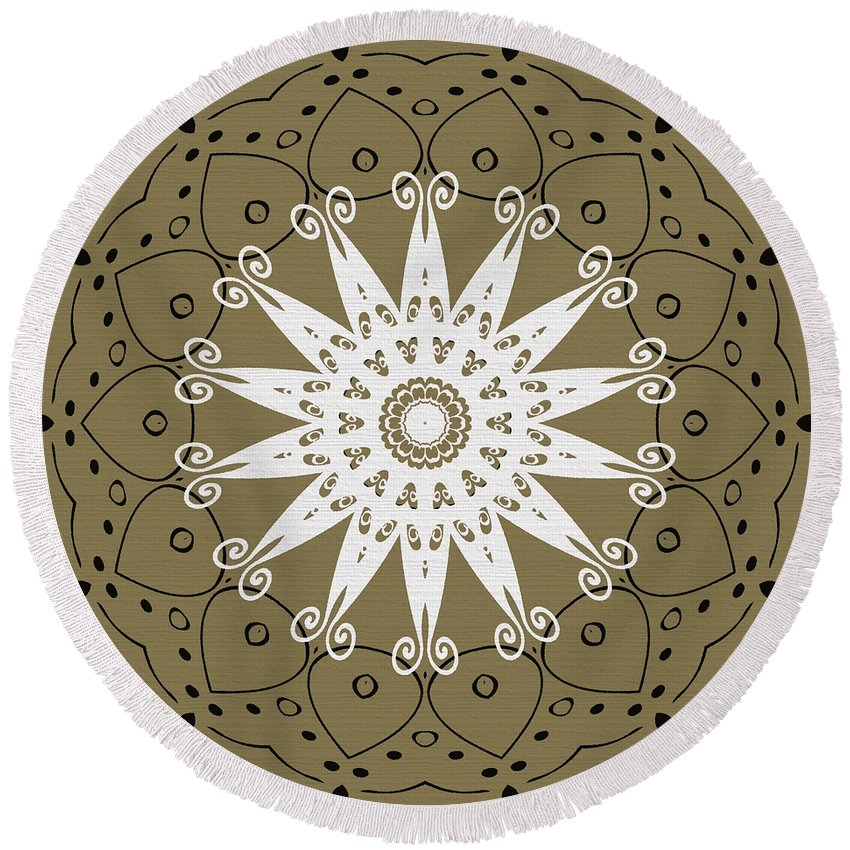Intricate Round Beach Towel featuring the digital art Coffee Flowers 9 Olive Ornate Medallion by Angelina Vick