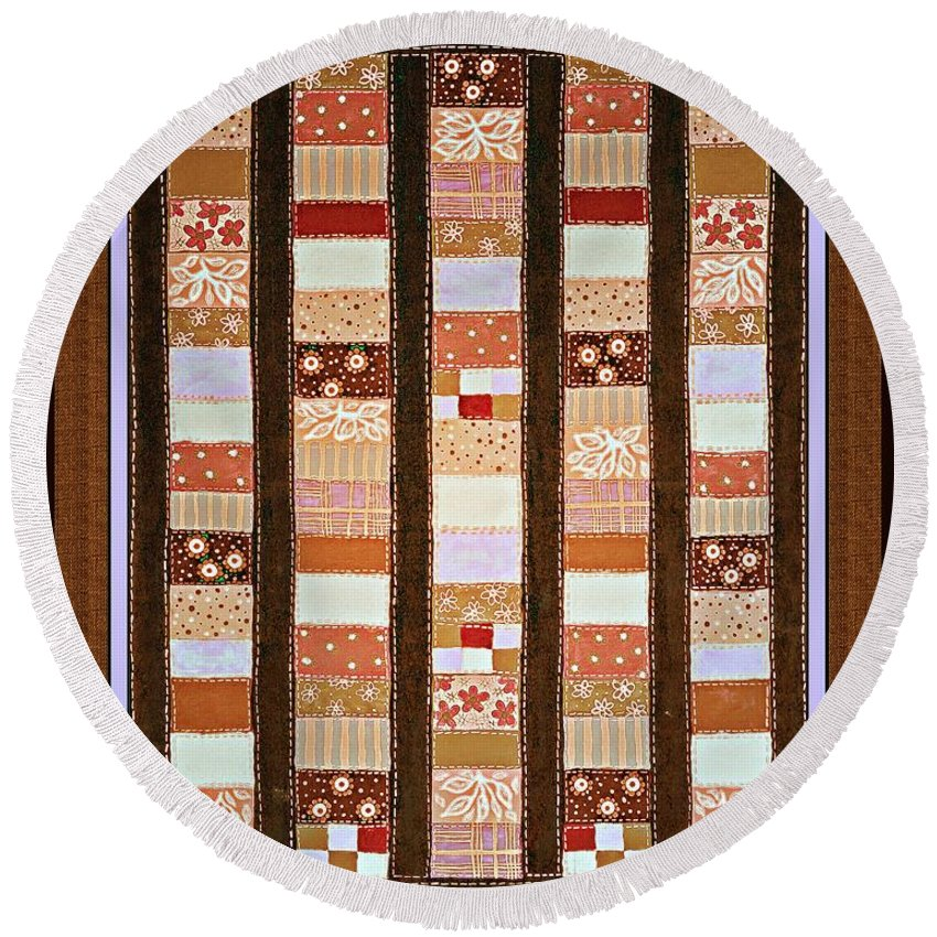 Coin Quilt Round Beach Towel featuring the painting Coin Quilt - Painting - Brown And White Patches by Barbara Griffin