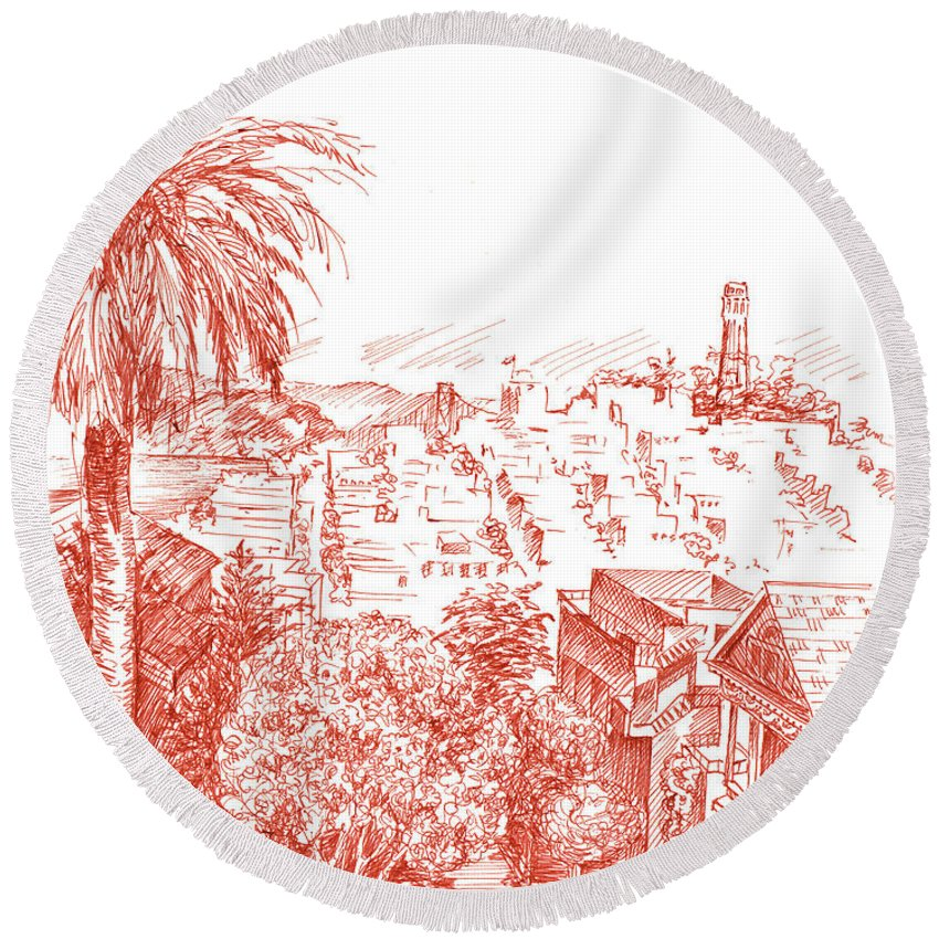 Coit Tower Round Beach Towels