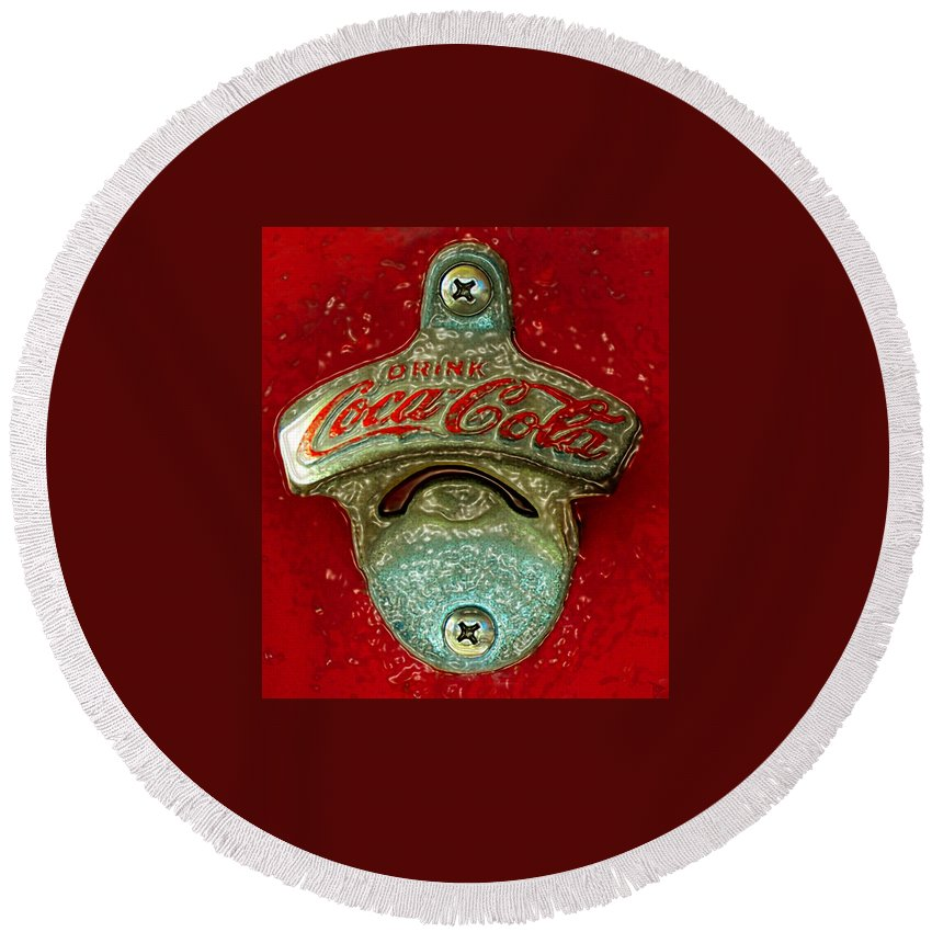 Antique Round Beach Towel featuring the painting Vintage Coke Bottle Opener by David Lee Thompson