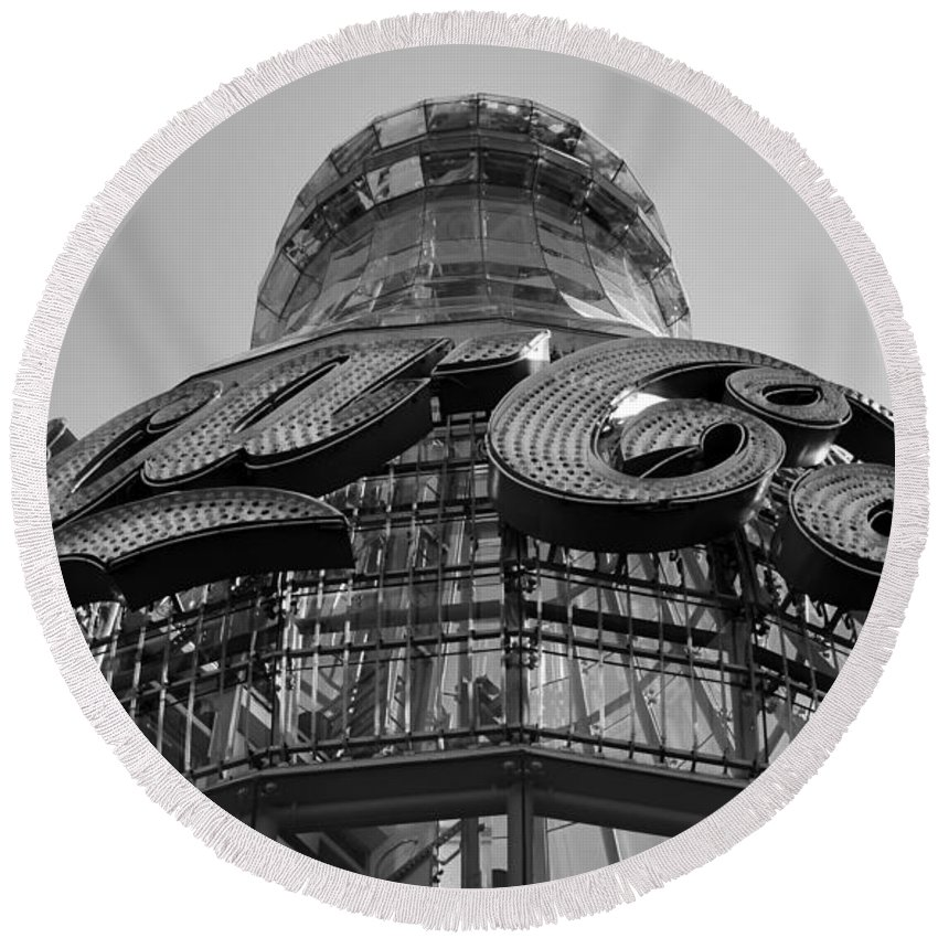 Coca Cola Round Beach Towel featuring the photograph Coca Cola Building by David Lee Thompson