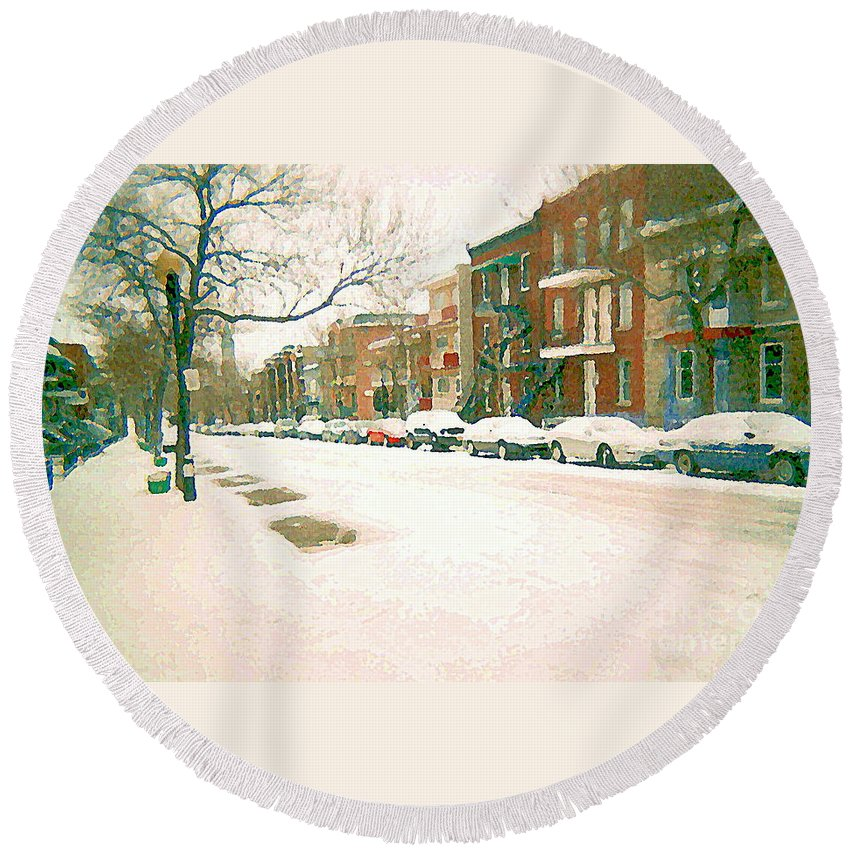 Montreal Round Beach Towel featuring the painting Cold Day In Montreal Pointe St Charles Art Winter Cityscene Painting After Big Snowfall Psc Cspandau by Carole Spandau